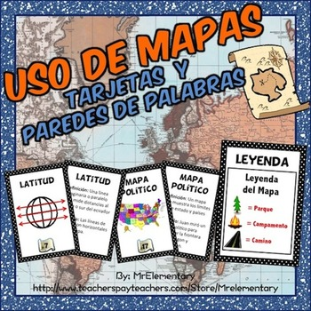 Spanish Map Skills Vocabulary Cards and Word Wall