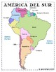 Spanish Map of South America- 8.5x11 printable reference pages