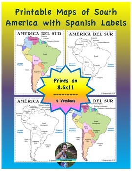 image relating to Printable South American Map identified as Spanish Map of South The united states- 8.5x11 printable reference webpages