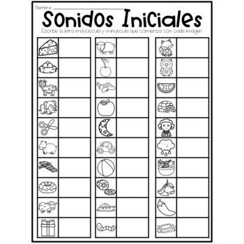 Spanish April Beginning Sounds - Centro de Aprendizaje Abril