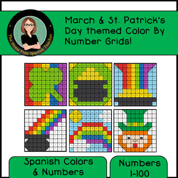 Spanish Color By Number Mystery Pictures Grids For March St Patricks Day