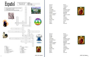 Spanish Martin Luther King Day Word Search, Crossword, Vocabulary, and Image IDs