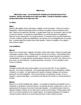 Spanish Match.com Comprehensible Input Adjectives and Descriptions