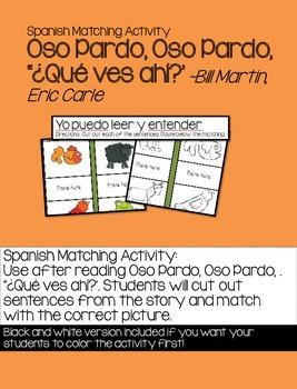 Spanish Matching Activity: Oso Pardo