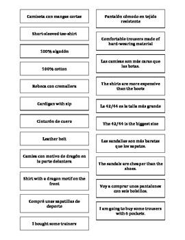 Spanish Teaching Resources. Matching Cards Describing Clot