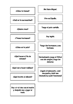 Spanish Teaching Resources. Cards General: Self intro, Pre