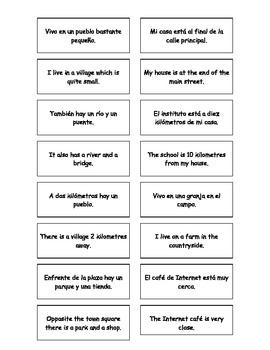 Spanish Teaching Resources. Matching Cards Describing Wher
