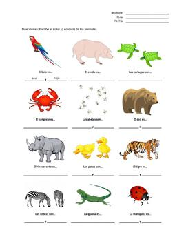 Spanish Matching Colors and Animals (Los Colores y Animales)
