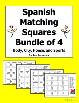 Spanish Matching Squares 4 Puzzles Bundle - Body, City, House, and Sports