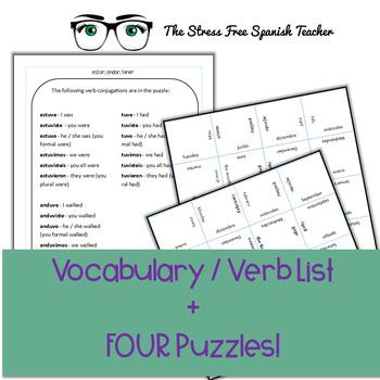 Spanish Vocabulary PUZZLE: Irregular Preterit Verbs: Estar, Tener, Andar