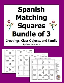 Spanish Matching Squares Puzzles Bundle of 3 - Family, Class Objects, Greetings