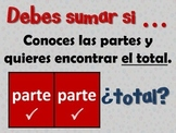 "Spanish Math ""Add or subtract?"" Sumar o restar"