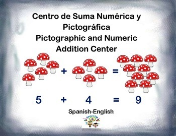 Spanish Math Addition / Suma Pictográfica y Numérica in a Station / Center Act.