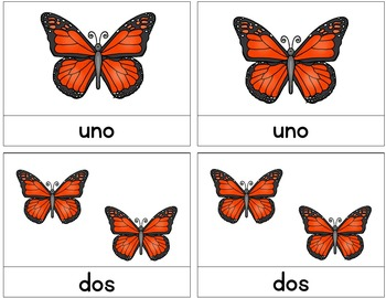Spanish Math Center Butterfly Bundle / Hands-on Activities / Montessori Style