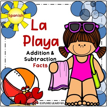 Spanish Addition & Subtraction Color by Number / La Playa Facts to 20