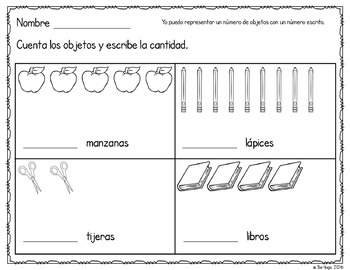 Spanish Math - Counting Objects to Represent Numbers Back to School Freebie