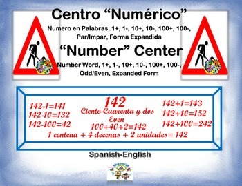 Spanish Math Expanded, Odd ,More, Less, Even Nos. / Centro Numérico in a Station
