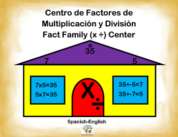 Spanish Math Fact Families / Factores en Multiplicacion y Division in a Station