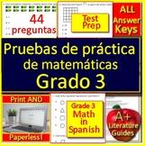 3rd Grade Math in Spanish  - Matemáticas Españolas Pruebas de práctica