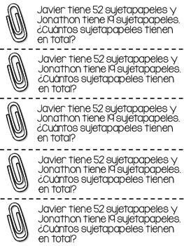 Spanish Math Journal Prompts - 2-Digit and 3-Digit Addition and Subtraction