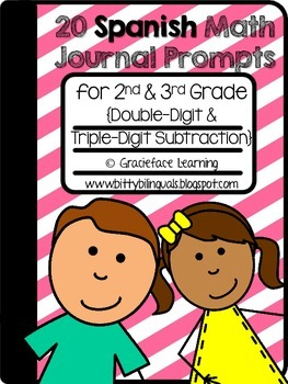 Spanish Math Journal Prompts – Double-Digit and Triple-Digit Subtraction