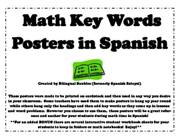 Spanish Math Keyword Posters