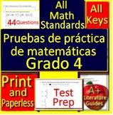 Spanish Math: Matemáticas Españolas Grado 4 Pruebas de práctica de matemáticas