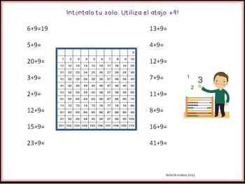 Spanish Math Number Stories and +9 Shortcut