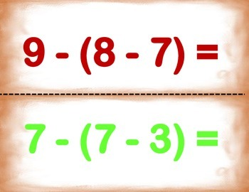 Spanish Math Operations with Brackets / + y - con Parentesis in a Station / CA.