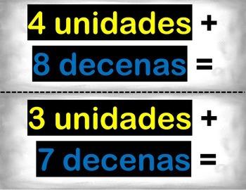 Spanish Math Place Value Numbers / Números y Valores de Posición in a Station