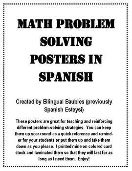Spanish Math Problem Solving Posters