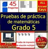 5th Grade Math in Spanish  - Matemáticas Españolas Pruebas de práctica
