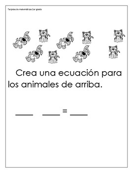 Spanish Math Task Cards 1st Grade
