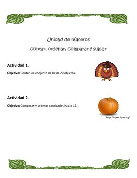 Spanish Math Thanksgiving