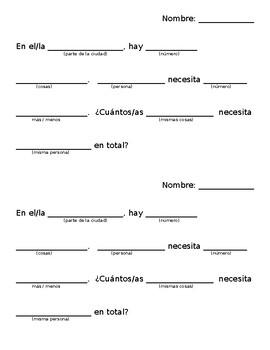 Spanish Math Word Problem Template / Mad Libs / Matemáticas