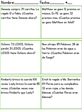 Spanish Math Word Problems