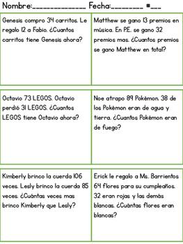 Spanish Math Word Problems