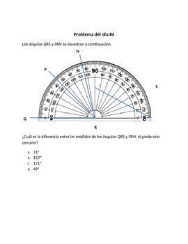 Spanish Math Word Problems ( 4th Grade STAAR) Measuring Angles