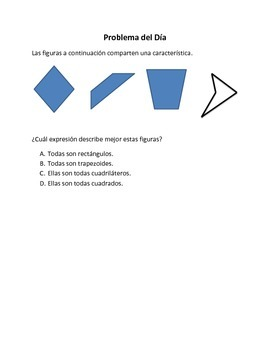 Spanish Math Word Problems (4th grade STAAR) Pack 1