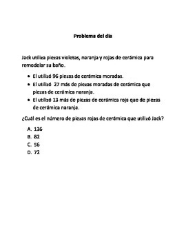 Spanish Math Word Problems (4th grade STAAR) - Pack 3 - - ALIGNED TO NEW TEKS