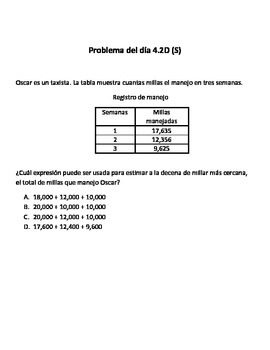 Spanish Math Word Problems (4th grade STAAR) - Pack 6 -- ALIGNED TO NEW TEKS