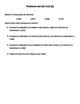 Spanish Math Word Problems (4th grade STAAR) - Pack 7 -- ALIGNED TO NEW TEKS