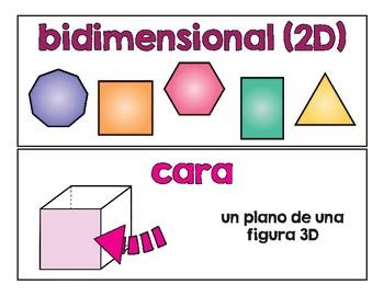 Spanish Math Word Wall Geometry 2nd / Pared de palabras (matemáticas) CC.G