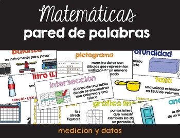 Spanish Math Word Wall Measurement/Data / Pared de palabras (matemáticas) CC.MD