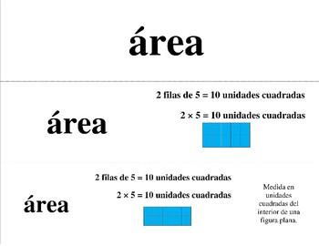Spanish Math Word Wall 3rd Grade