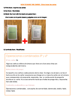 Spanish Math cards: combined operations. Operaciones combinadas