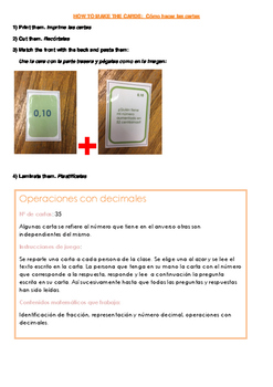 Spanish Math cards: decimals . Los decimales