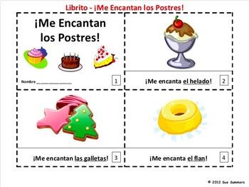 Spanish Me Encantan Los Postres Booklets - Food & Desserts