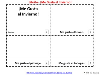 Spanish Me Gusta el Invierno Booklets - I Like Winter Booklets
