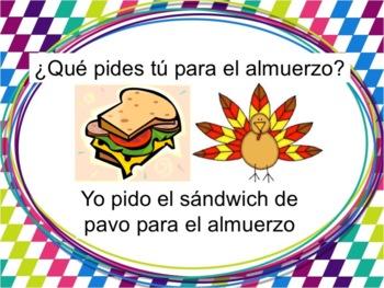 Spanish Meals Powerpoint with Pedir - singular only
